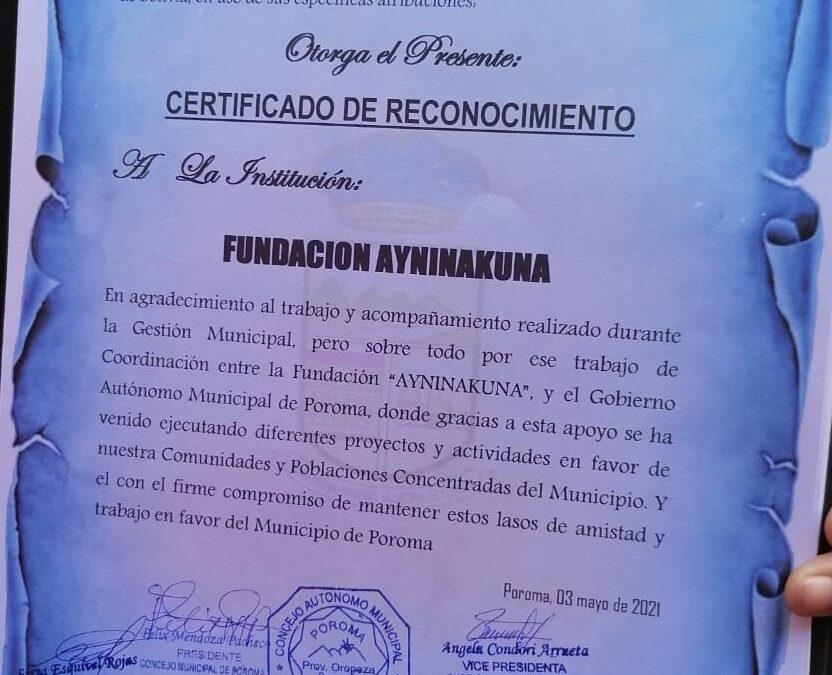 RECONOCIMIENTO A LA ONG AYNINAKUNA POR EL TRABAJO REALIZADO EN EL MUNICIPIO DE POROMA