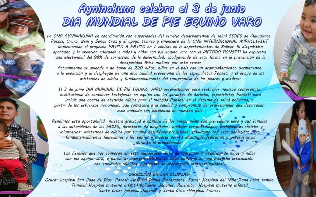 Ayninakuna celebra el 3 de junio DÍA MUNDIAL DEL PIE EQUINO VARO