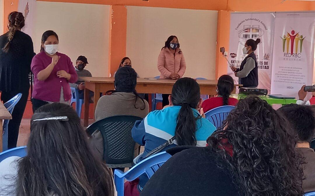 Socialización de la política publica de Rehabilitación Basada en la Comunidad Sucre- Potosí.